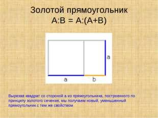 Золотой прямоугольник А:В = А:(А+В) Вырезав квадрат со стороной а из прямоуго