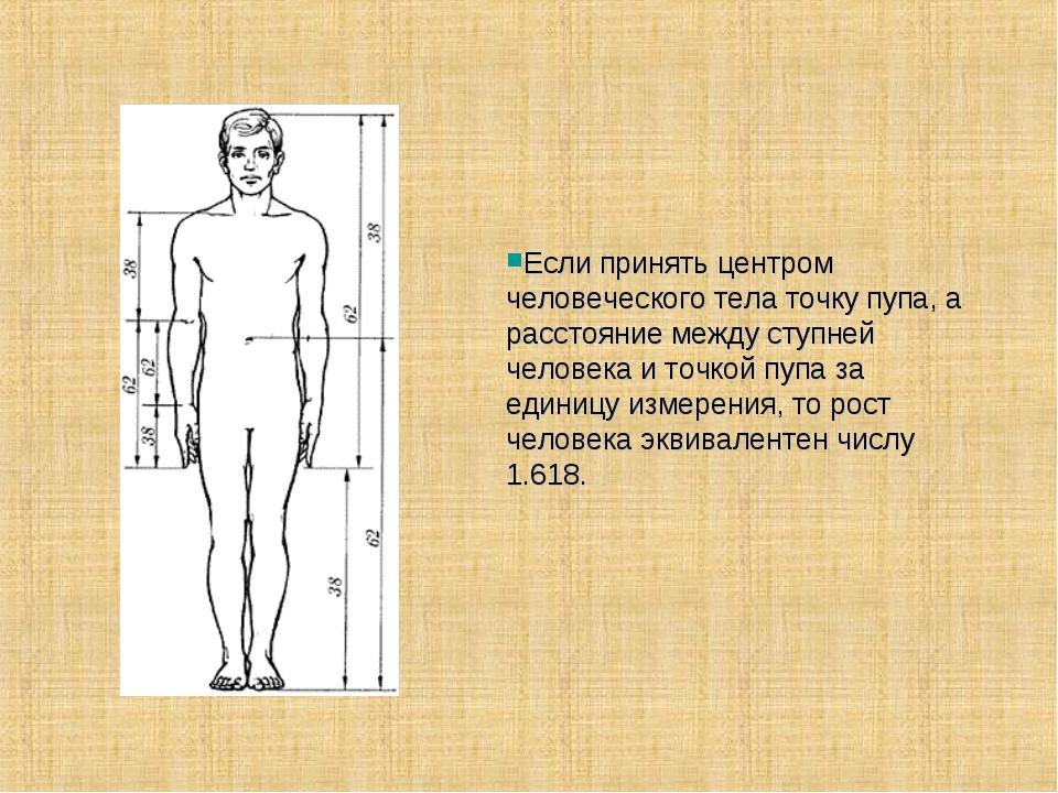 Если принять центром человеческого тела точку пупа, а расстояние между ступне...
