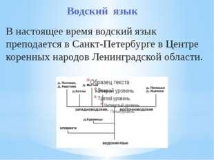 Водский язык В настоящее время водский язык преподается в Санкт-Петербурге в