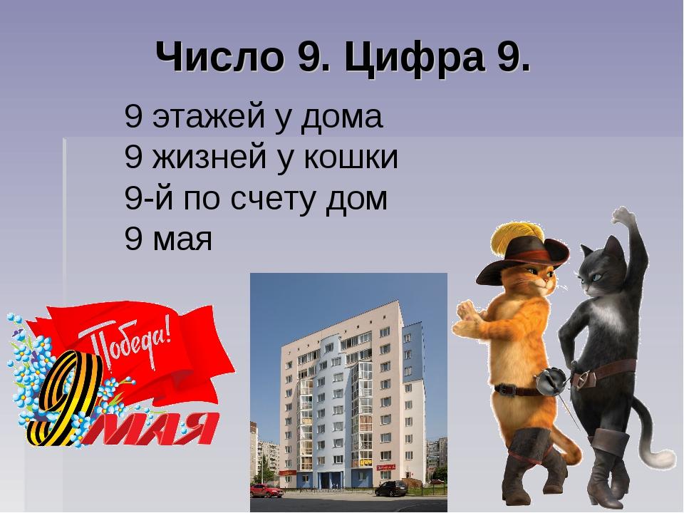 Число 9. Цифра 9. 9 этажей у дома 9 жизней у кошки 9-й по счету дом 9 мая