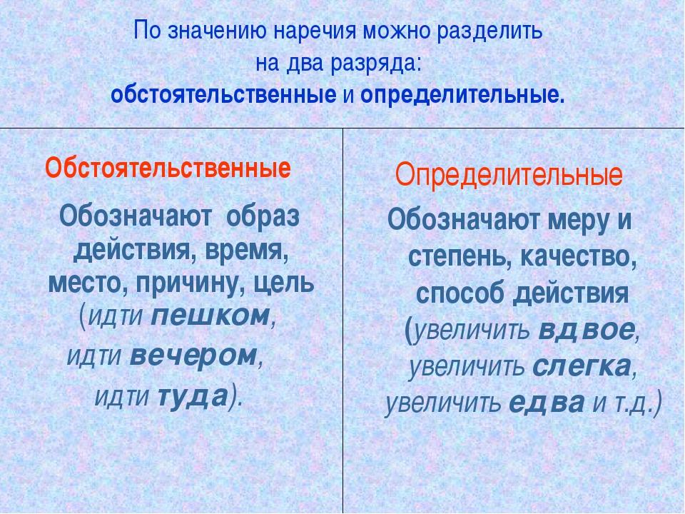 По значению наречия можно разделить на два разряда: обстоятельственные и опре...