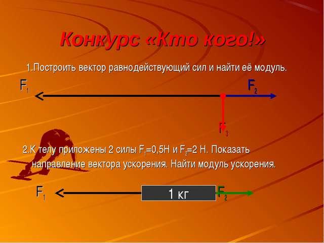 Конкурс «Кто кого!» 1.Построить вектор равнодействующий сил и найти её модуль...