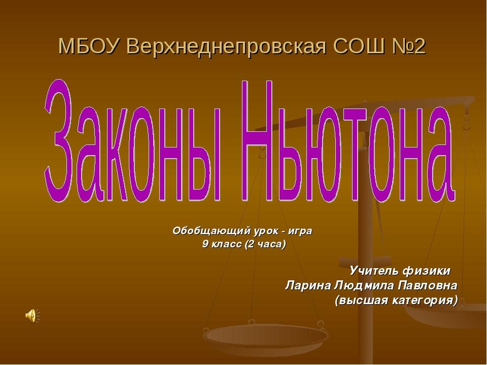 МБОУ Верхнеднепровская СОШ №2 Обобщающий урок - игра 9 класс (2 часа) Учитель...