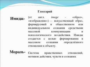 Глоссарий Имидж- Мораль- (от англ. image - «образ», «изображение»)— искусств