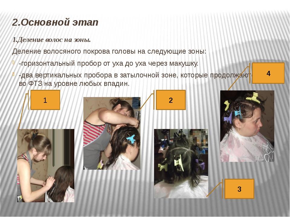 2.Основной этап 1.Деление волос на зоны. Деление волосяного покрова головы на...