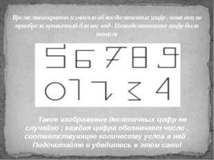 Время многократно изменяло облик десятичных цифр , пока они не приобрели прив