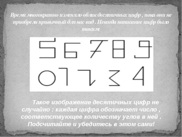 Время многократно изменяло облик десятичных цифр , пока они не приобрели прив...
