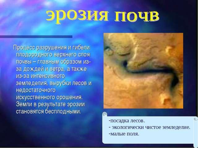Процесс разрушения и гибели плодородного верхнего слоя почвы – главным образ...