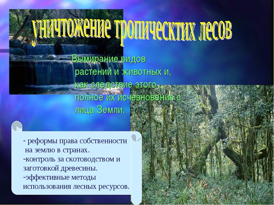 Вымирание видов растений и животных и, как следствие этого , полное их исчез...