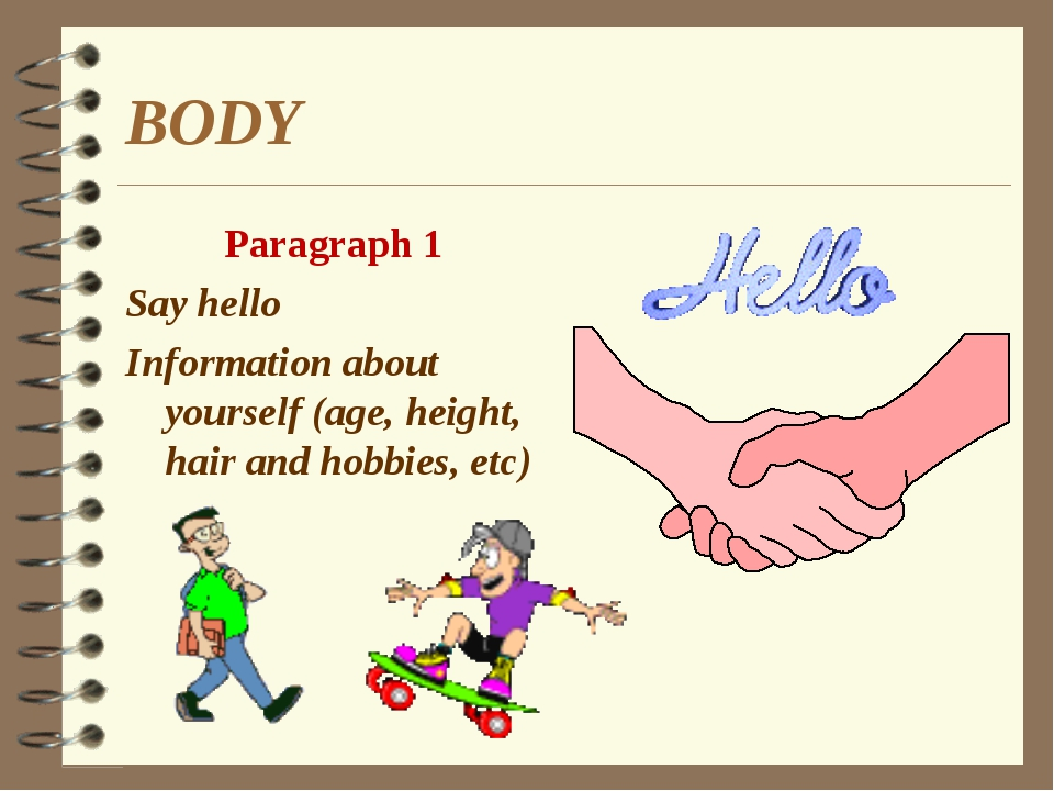 BODY Paragraph 1 Say hello Information about yourself (age, height, hair and...