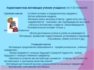 Характеристика мотивации учения учащихся (по Н.В.Немовой) Средняя школа Стойк