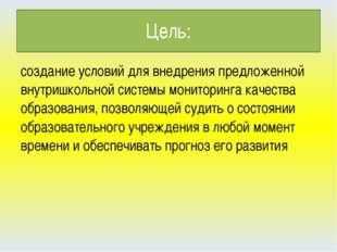 Цель: создание условий для внедрения предложенной внутришкольной системы мони