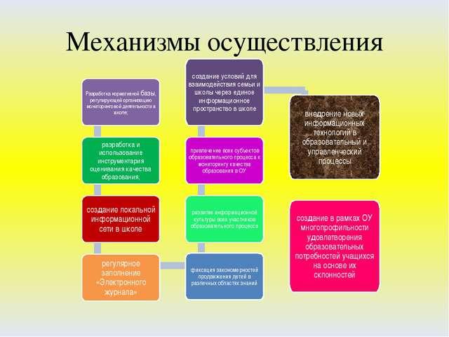 Механизмы осуществления Разработка нормативной базы, регулирующей организацию...