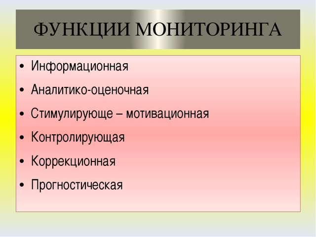 ФУНКЦИИ МОНИТОРИНГА Информационная Аналитико-оценочная Стимулирующе – мотивац...