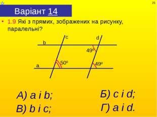 Варіант 14 1.9 Які з прямих, зображених на рисунку, паралельні? А) а і b; Г)