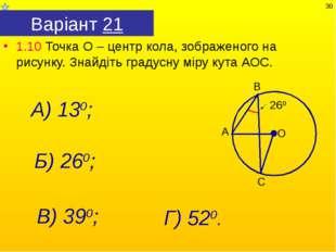 Варіант 21 1.10 Точка О – центр кола, зображеного на рисунку. Знайдіть градус