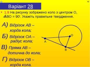 Варіант 28 1.9 На рисунку зображено коло з центром О, АВО = 900. Укажіть прав