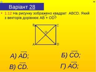 Варіант 28 1.12 На рисунку зображено квадрат АВСD. Який з векторів дорівнює А