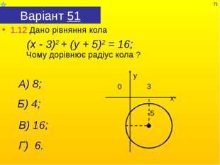 Варіант 51 1.12 Дано рівняння кола Чому дорівнює радіус кола ? А) 8; (х - 3)2