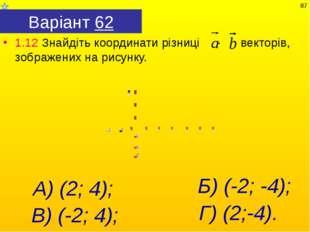 Варіант 62 1.12 Знайдіть координати різниці - векторів, зображених на рисунку