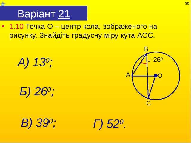 Варіант 21 1.10 Точка О – центр кола, зображеного на рисунку. Знайдіть градус...