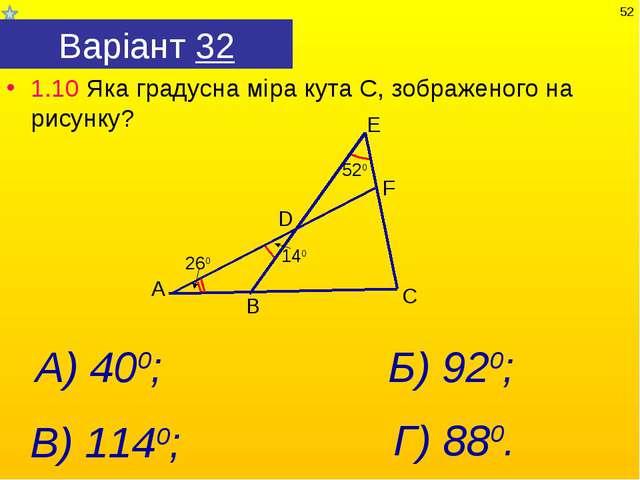 Варіант 32 1.10 Яка градусна міра кута С, зображеного на рисунку? Г) 880. А)...