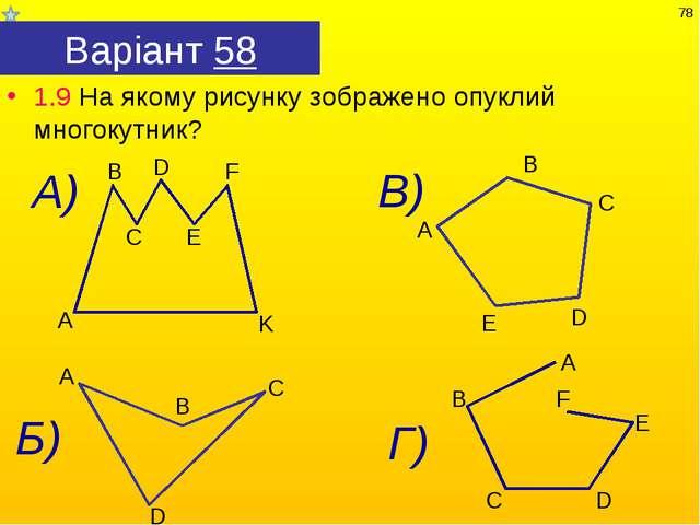Варіант 58 1.9 На якому рисунку зображено опуклий многокутник? *
