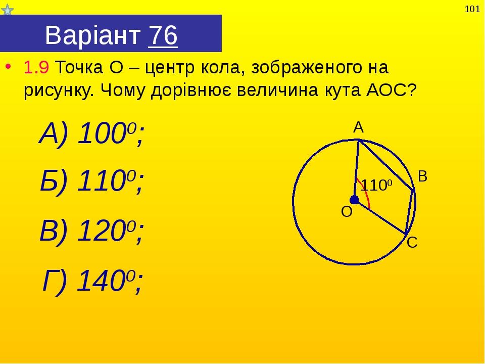 Варіант 76 1.9 Точка О – центр кола, зображеного на рисунку. Чому дорівнює ве...