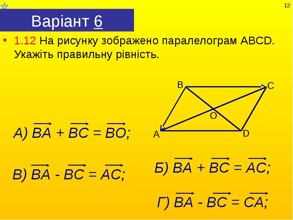 Варіант 6 1.12 На рисунку зображено паралелограм АВСD. Укажіть правильну рівн...