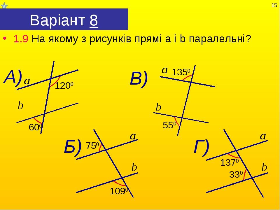 Варіант 8 1.9 На якому з рисунків прямі а і b паралельні? *