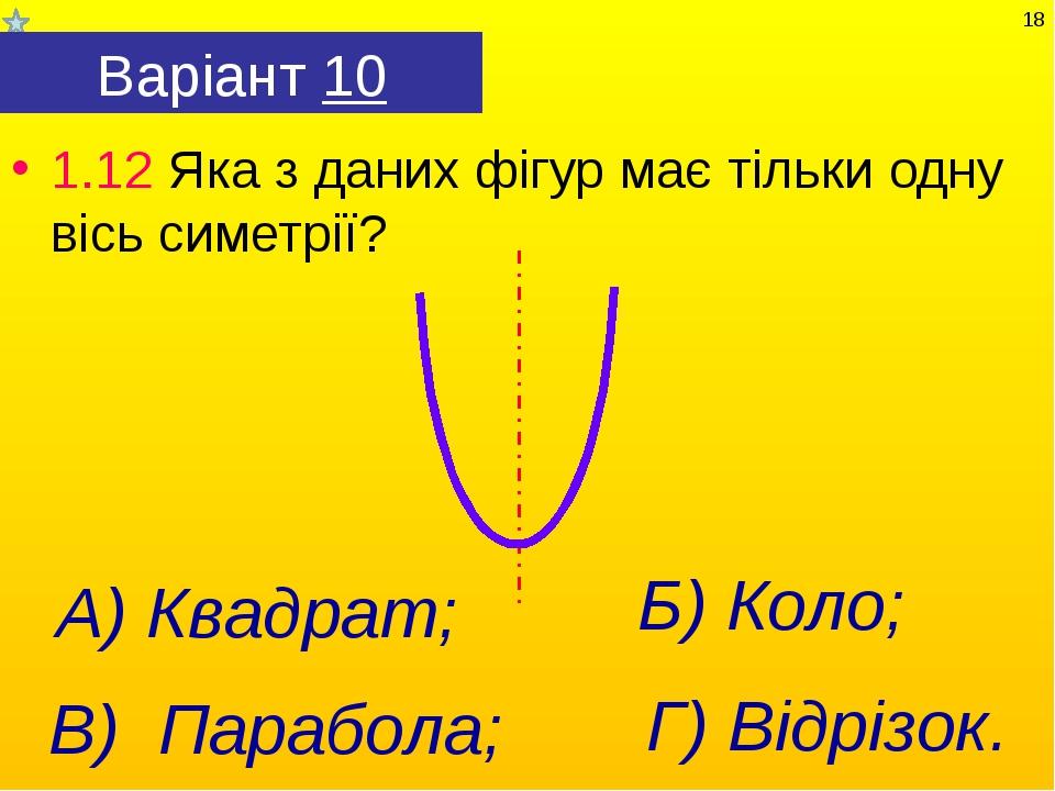 Варіант 10 1.12 Яка з даних фігур має тільки одну вісь симетрії? Г) Відрізок....