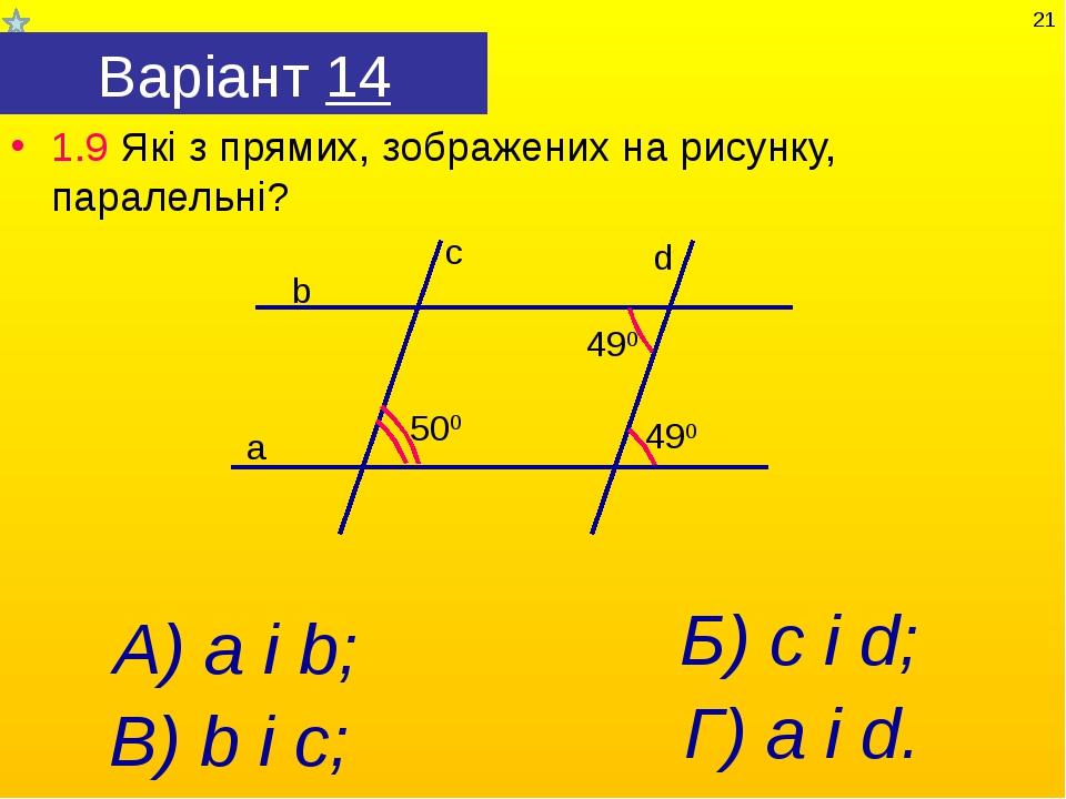 Варіант 14 1.9 Які з прямих, зображених на рисунку, паралельні? А) а і b; Г)...