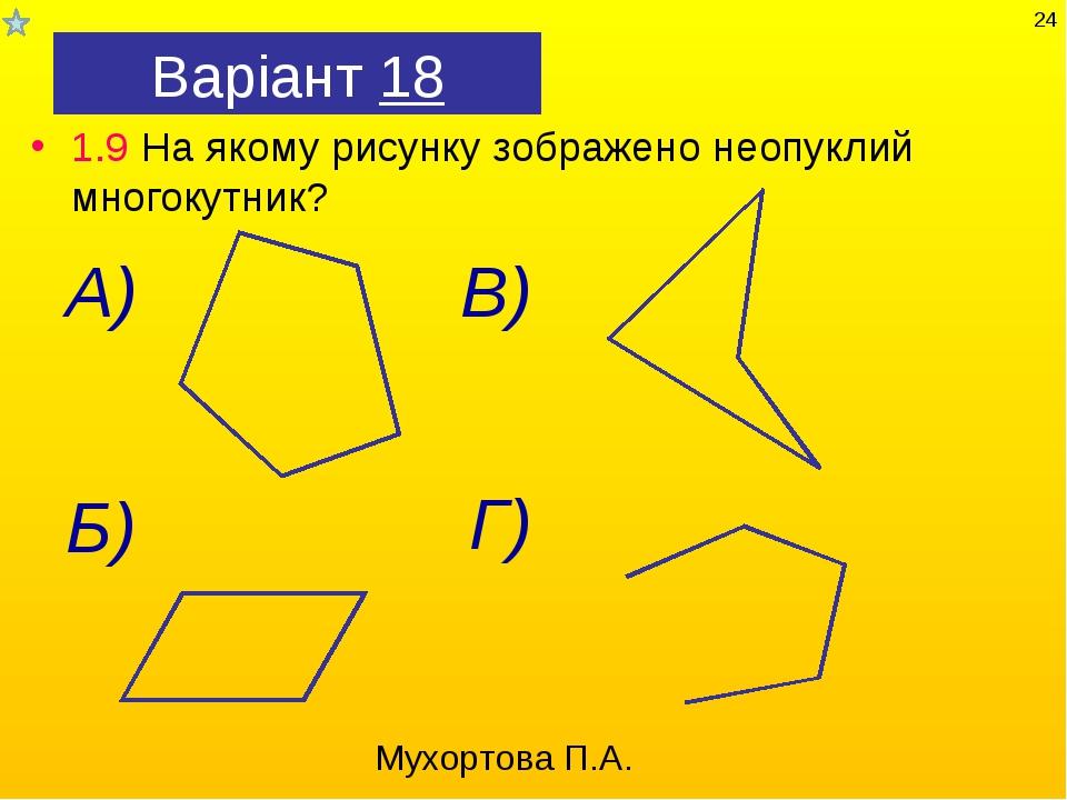 Варіант 18 1.9 На якому рисунку зображено неопуклий многокутник? Мухортова П....