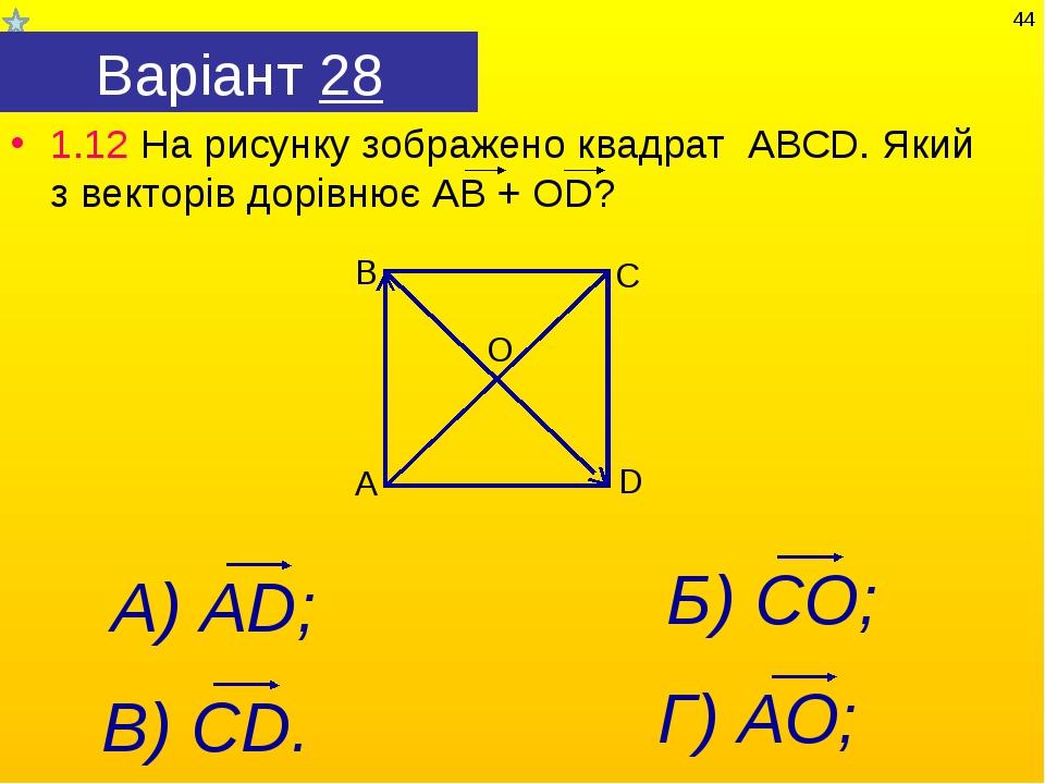 Варіант 28 1.12 На рисунку зображено квадрат АВСD. Який з векторів дорівнює А...
