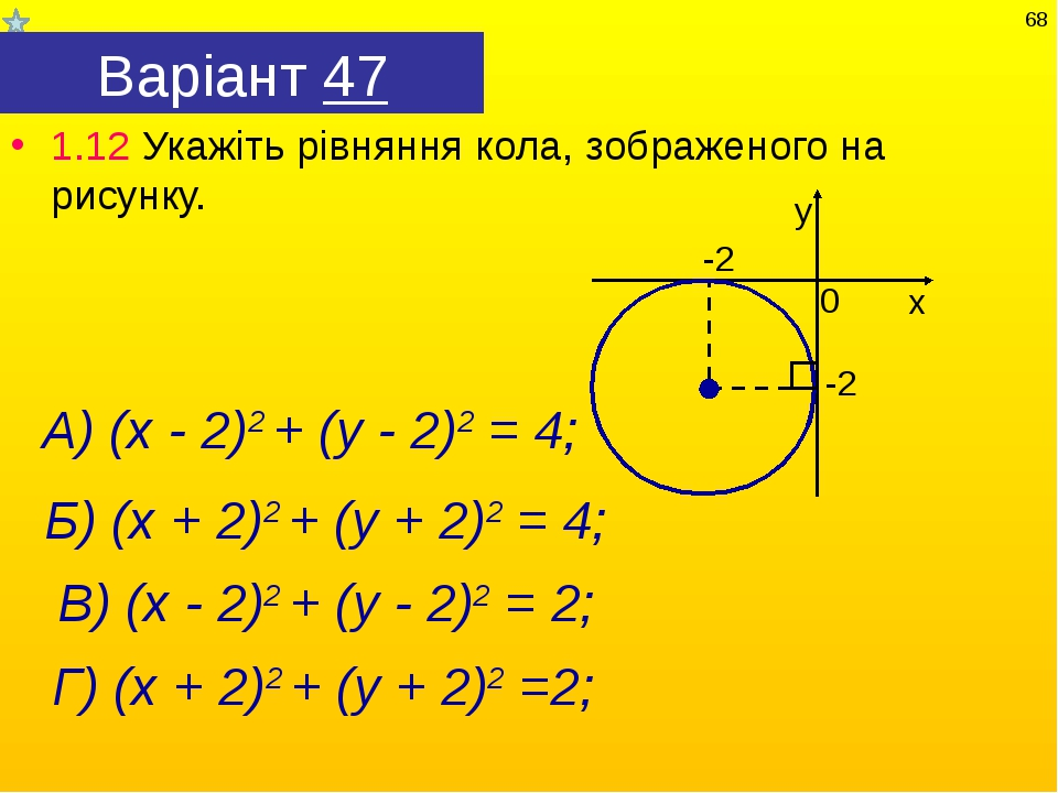 Варіант 47 1.12 Укажіть рівняння кола, зображеного на рисунку. А) (х - 2)2 +...