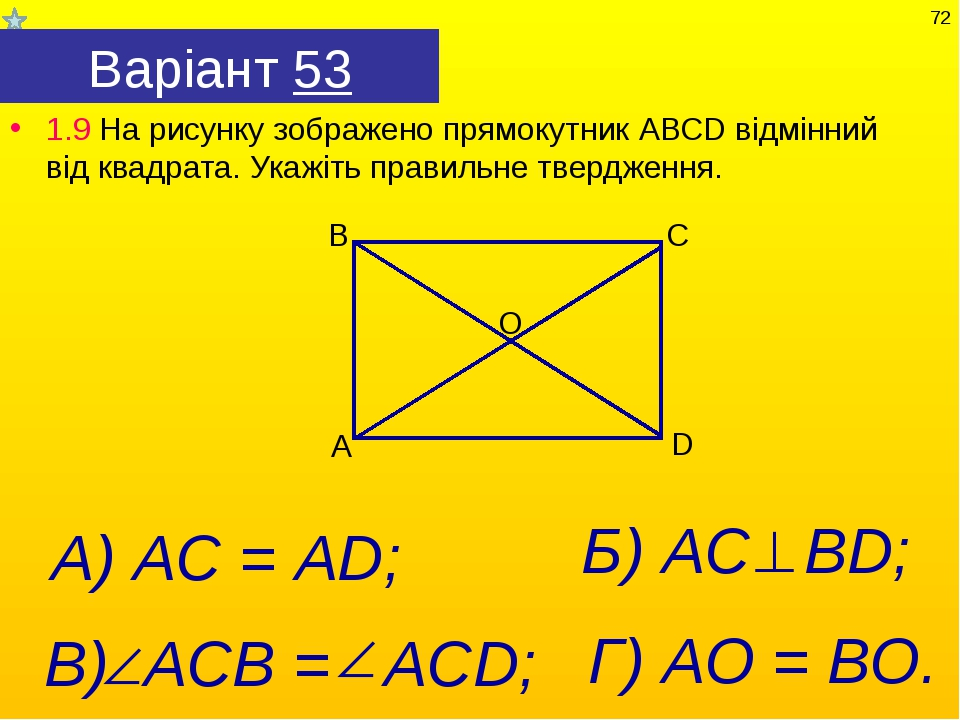 Варіант 53 1.9 На рисунку зображено прямокутник АВСD відмінний від квадрата....