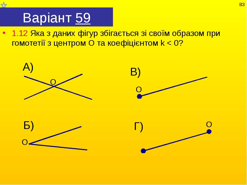 Варіант 59 1.12 Яка з даних фігур збігається зі своїм образом при гомотетії з...