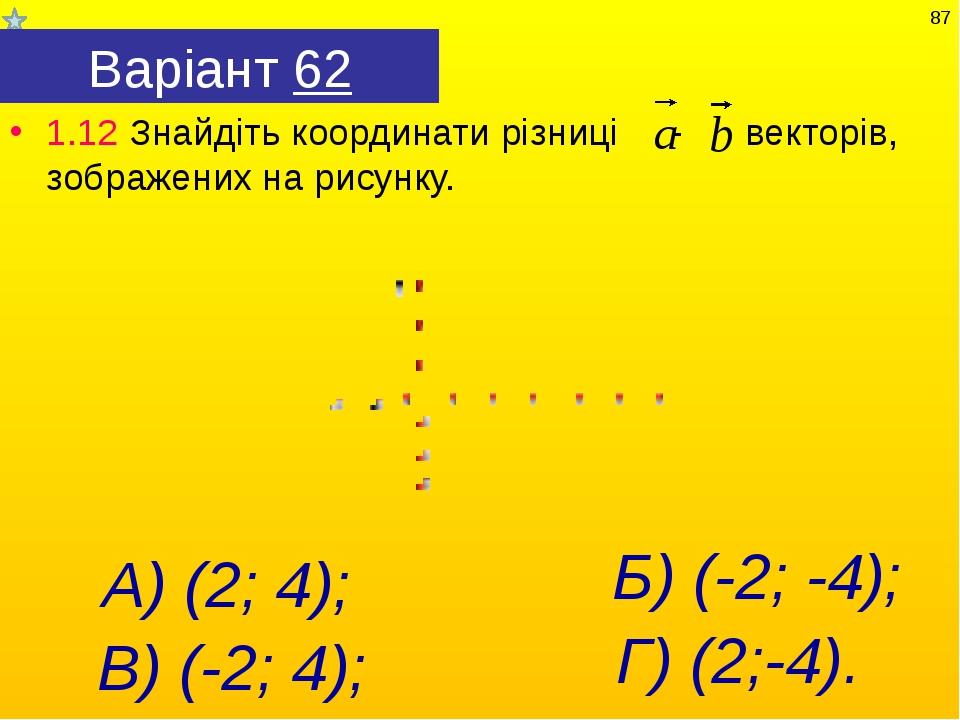 Варіант 62 1.12 Знайдіть координати різниці - векторів, зображених на рисунку...