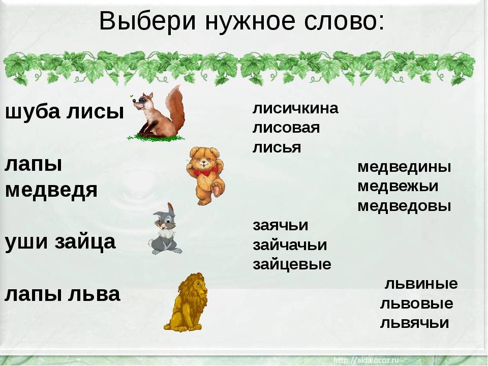 Выбери нужное слово: шуба лисы лапы медведя уши зайца лапы льва лисичкина лис...