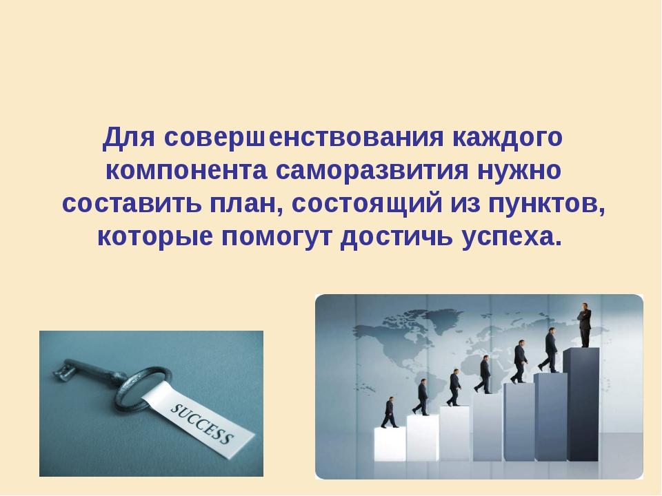 Для совершенствования каждого компонента саморазвития нужно составить план, с...