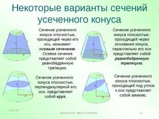 Некоторые варианты сечений усеченного конуса Н L R Н L R Сечение усеченного к
