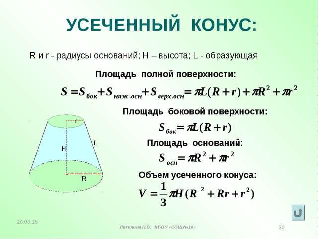 УСЕЧЕННЫЙ КОНУС: R и r - радиусы оснований; Н – высота; L - образующая Площад...