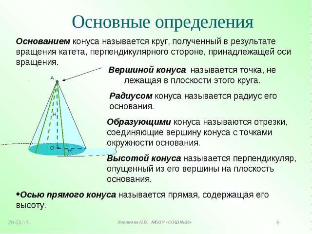 Вершиной конуса называется точка, не лежащая в плоскости этого круга. Радиусо...