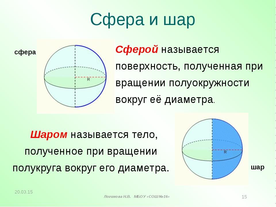Сфера и шар Шаром называется тело, полученное при вращении полукруга вокруг е...