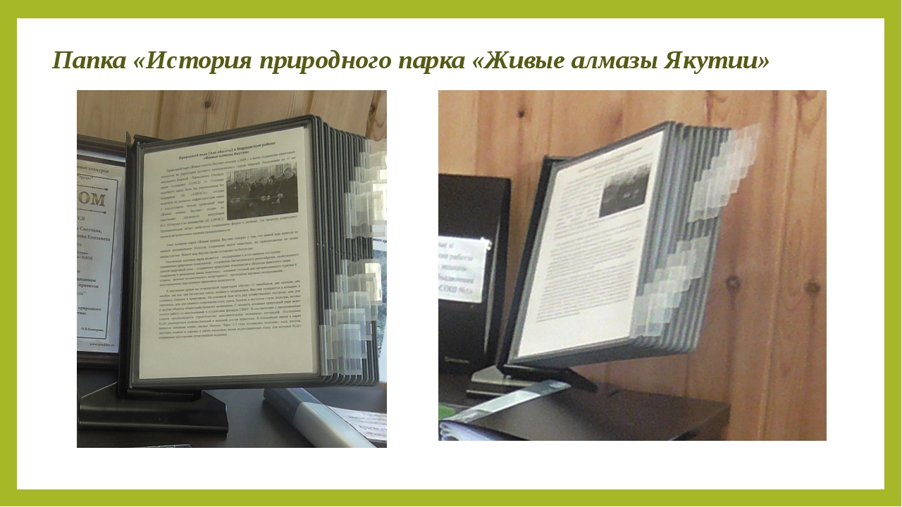 Папка «История природного парка «Живые алмазы Якутии»