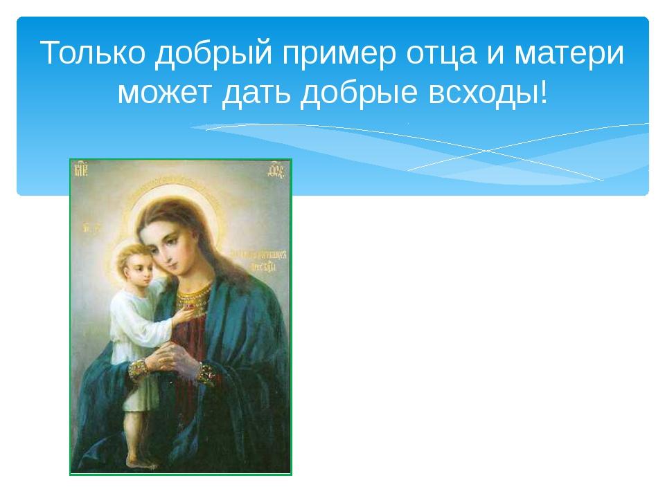 Только добрый пример отца и матери может дать добрые всходы!