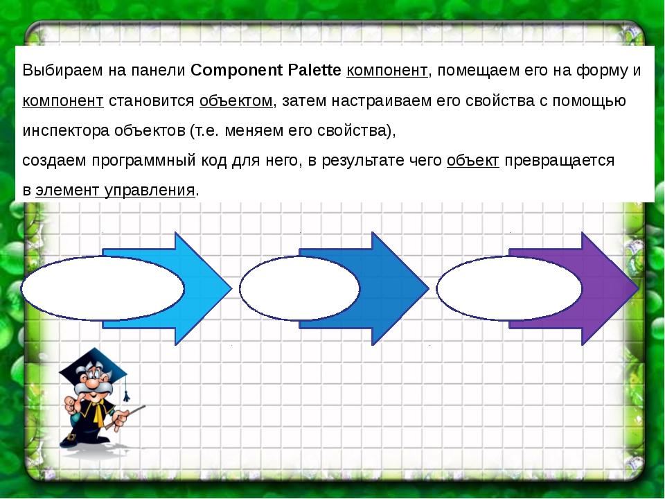 Выбираем на панели Component Palette компонент, помещаем его на форму и компо...