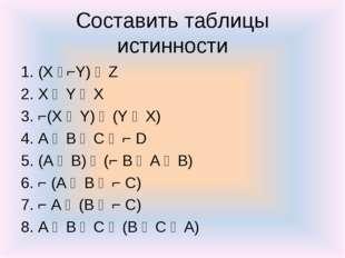 Составить таблицы истинности 1. (X ᴧ⌐Y) ᴠ Z 2. X ᴧ Y ᴠ X 3. ⌐(X ᴠ Y) ᴧ (Y ᴠ X
