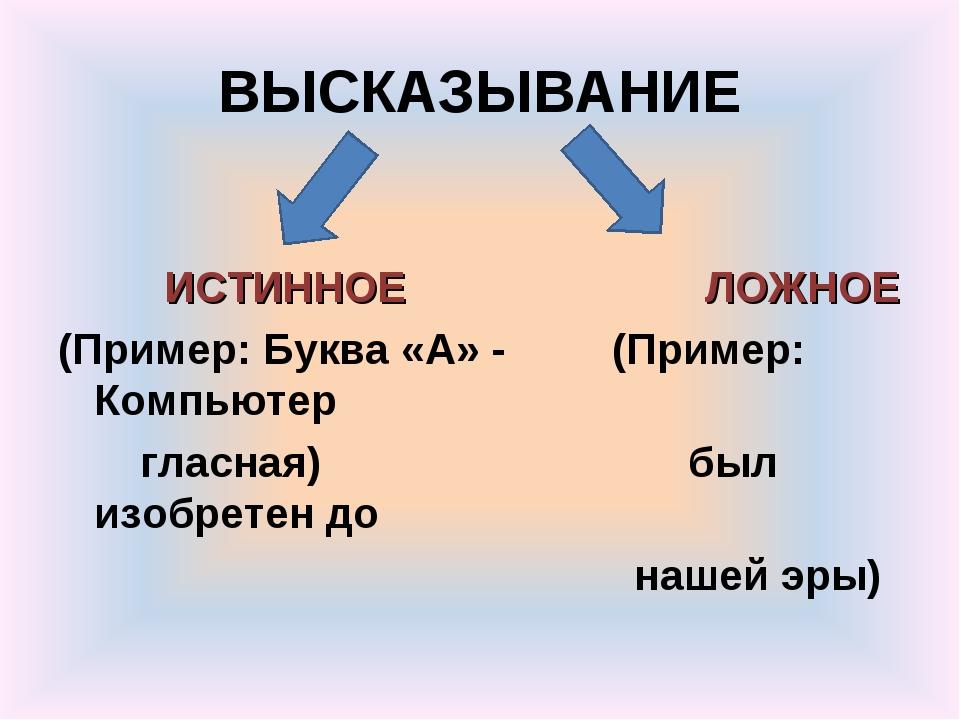 ВЫСКАЗЫВАНИЕ ИСТИННОЕ ЛОЖНОЕ (Пример: Буква «А» - (Пример: Компьютер гласн...