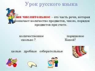 Урок русского языка Имя числительное – это часть речи, которая обозначает кол